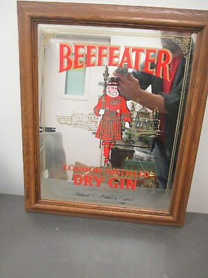 Vintage Beefeater London Distilled Dry Gin Wall Decor Mirror Bar Man Cave