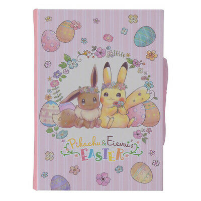 Pokemon Center Original Pikachu & Eevee's Easter Book Shaped Memo Pad Notepad
