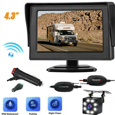 4.3'' LCD Car Rear View Monitor Wireless Kit Reverse Backup Night Vision Camera