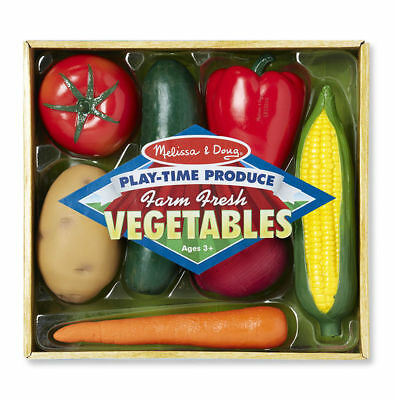 New Melissa & Doug Play Time Produce Vegetable Set Food Pretend Play Set Crate