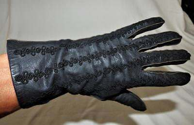 VINTAGE 50s 60s SOFT BLACK LEATHER dress GLOVES sz 8 medium rockabilly swing XC