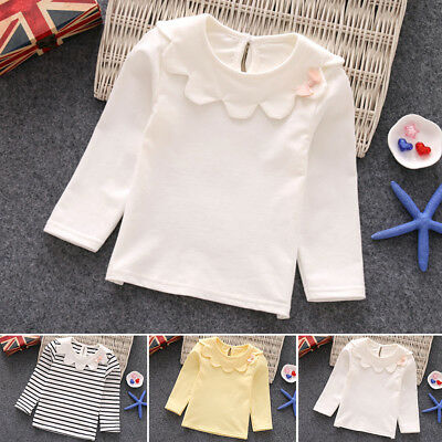 Spring Kids Toddler Child Girl Long Sleeve Cute Tops Cotton Clothes T-shirt