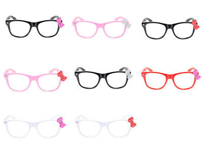 Kids Children Baby Kitty Cat Bow Clear Lens Cute Glasses Sunglasses-8 Colors