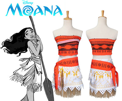 Kids Moana Princess Costume Necklace Fancy Dress Up Cosplay Outfits Deluxe AU