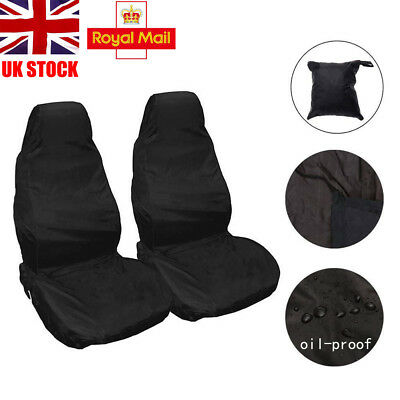 Universal Waterproof Pair of Front Seat Cover Protector Car Van Heavy Duty BLACK