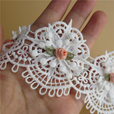 Wholesale 13yards/lot 6.5cm White Embroidered Lace Edge Trim Ribbon Sewing Craft
