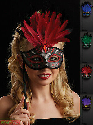 Ladies Masquerade Ball Eye Mask On Stick Venetian Fancy Dress Costume Accessory