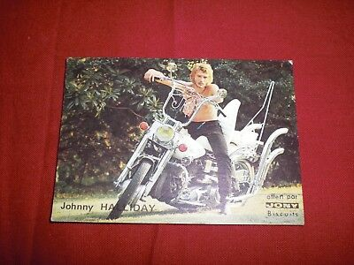 Ancienne Image Biscuits Jony Johnny Halliday Chanteur Yeye Seventies 1960 Harley