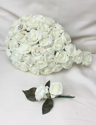 Ivory Roses Wedding Flowers Brides Bouquet Groom Buttonhole Simple Classic