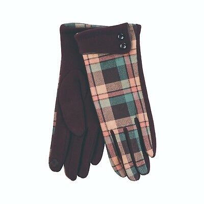 Heritage Traditions Ladies Womens Brown Green Button Cuff Check Gloves