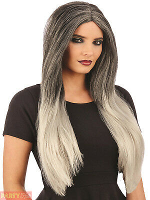 Ladies Grey White Ombre Wig Adult Witch Vampire Halloween Fancy Dress Accessory