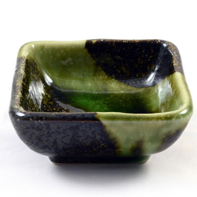 Small Japanese Dish For Sushi Etc - Iridescent Green Glazed Ceramic Plate