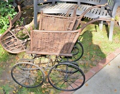 Antique Gendron Wheel Co Baby Carriage Stroller Buggy 1800's 19th Century Wicker