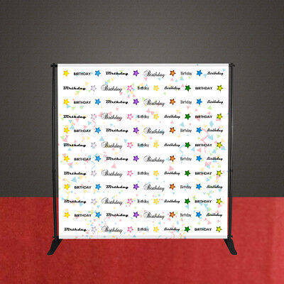 Birthday Party Backdrop Step and Repeat Red Carpet Banner 8'W x 8'H with STAND