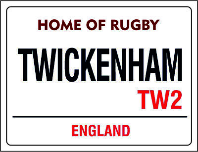 Home of rugby twickenham england retro vintage style metal wall plaque sign