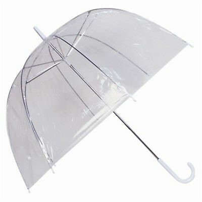 "Large 33"" Clear Transparent Ladies Kids Dome Windproof Umbrella Brolly"