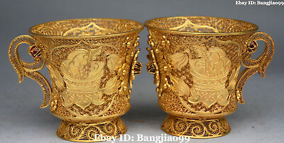 Chinese Bronze Filigree Gold Gilt Gem Ancient Flower Cann Goblet Cup Pair Statue