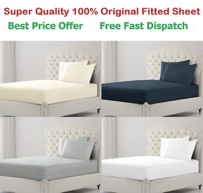 Fitted Sheet 400Tc Luxury 100% Egyptian Cotton Bed Sheet Single Double King Size