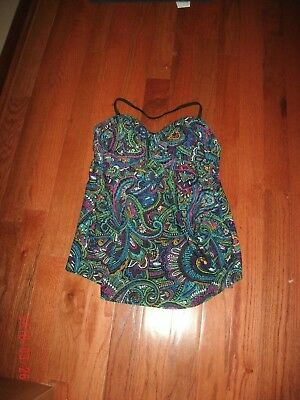 Liz Lange Swimsuit Top Maternity size XXL Multi-color paisley print Bra insert