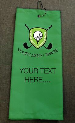 Personalised Golf Towel - Choose Your Wording, Colour and Add Your Image or Logo