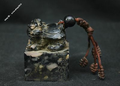 """3"""" Chinese Fu Jian Shoushan Stone Hand-carved Dragon turtle Seal Stamp Sculpture"""