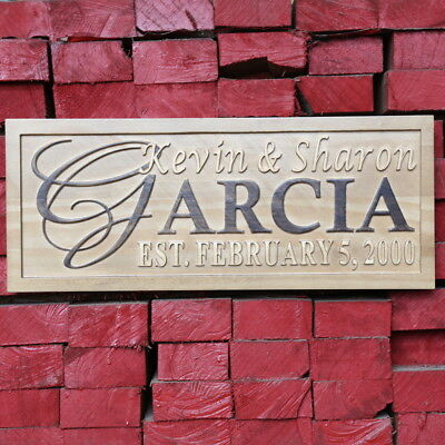 """wpa0004 Personalized 5 Year """"Wood"""" Wedding Anniversary Gift Surname Wooden Signs"""