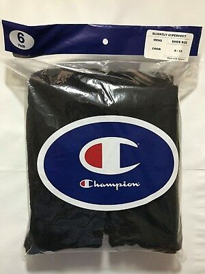 Champion Double Dry 6 Pack Black Performance Men's CREW Socks SIZE 6-12 Cotton