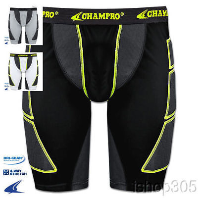 Champro Mens Adult Baseball Softball Sliding Shorts BPS12 (Black, Grey or White)