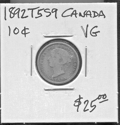 Canada - Great Historical Qv Silver 10 Cents, 1892, Km# 3