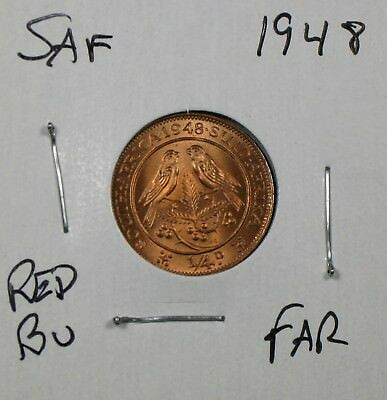 1948 South Africa Farthing Uncirculated No Reserve!! Nice Red!!
