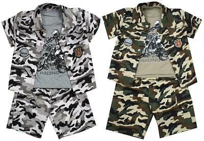 Boys Shorts Jacket Vest Army Outfit 3 Piece Camo Set Summer Kids 2 to 10 Years