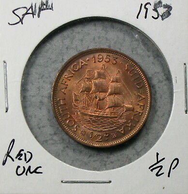 1953 South Africa Half Penny Uncirculated No Reserve!!