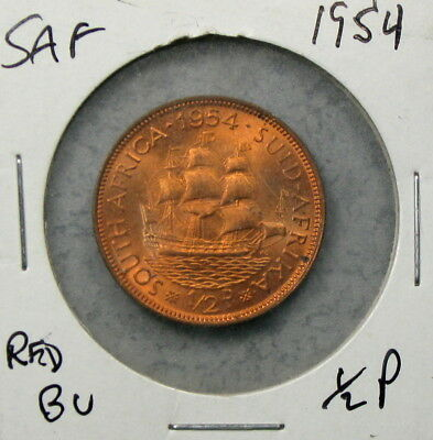 1954 South Africa Half Penny Uncirculated No Reserve!! Nice Red!