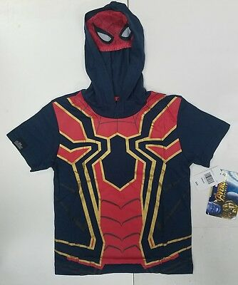 NEW Marvel Avengers: Infinity War kids Iron Spider Hoodies Tshirt With Mask