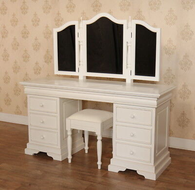 Antique White Mahogany Reproduction Victorian Dressing Table + Mirror + Stool