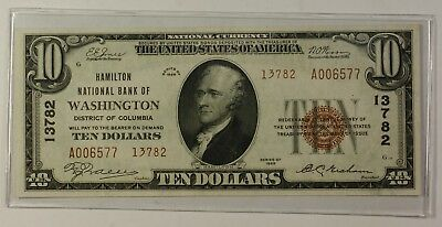 1929 $10 Ten Dollar Note Hamilton National Bank of Washington DC Nearly UNC RS
