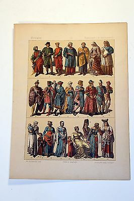 Antique MIDDLE AGES COSTUME Print by F. Hottenroth-1884 FRENCH 14th Century #2