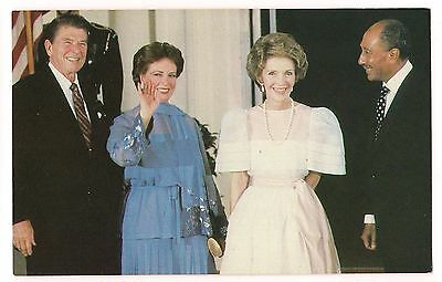 RONALD REAGAN Nancy Egyptian President ANWAR SADAT Mrs Postcard 1981 LAST VISIT