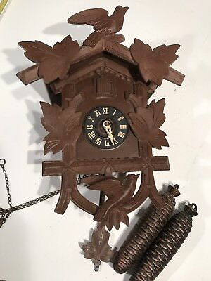 Vintage Black Forest Hubert Here Cuckoo Clock Germany Swiss Movement 2 Weight