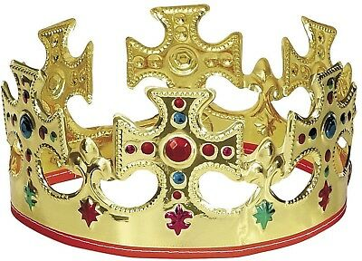 Novelty Majestic King or Queens Gold Plastic Crown Kid Children Dressing Up Toy