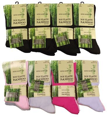 6 Pairs  Ladies Bamboo Loose Top Socks, Super Soft Anti Bacterial Socks 4-7