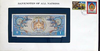 Bhutan - 1981 - One Ngultrum -  P5 - Cu - Banknotes Of All Nations 7208