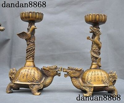 Chinese bronze Dragon phoenix Dragon turtle calligraphy Candlestick Holder Pair