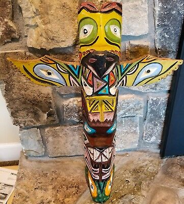 "NORTHWEST COAST COWICHAN or KWAKIUTI INDIAN TOTEM POLE 25"" TALL"