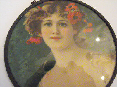 "Flue Cover Lovely  Lady w/Poppies in Hair Germany 71/2""dia 1800-1900"