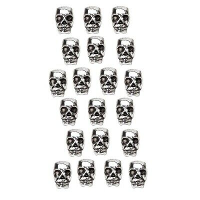 20pcs Antique Silver Skull Head Spacer Beads Jewelry Findings 4mm Big Hole