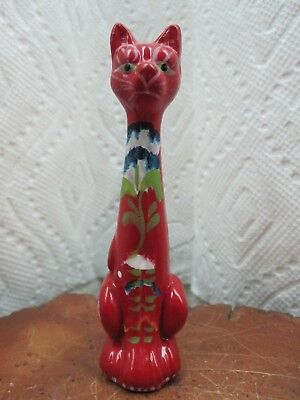 "Vintage Hand Painted Sitting Cat Red Figurine Made In Portugal 4"" Inch Tall"