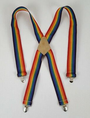 Childrens Rainbow Suspenders Multi Colored Clip On Polyester Strap Mork & Mindy
