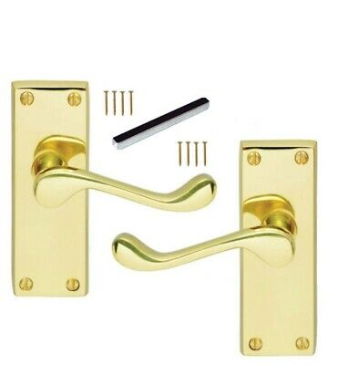 Up to 9 sets Lever Door Handles Victorian Scroll Internal Polished Brass D1 IR V