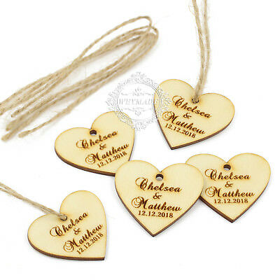 Personalised Engraved Couple Names Wooden Love Hearts Gift Tags Wedding Favours